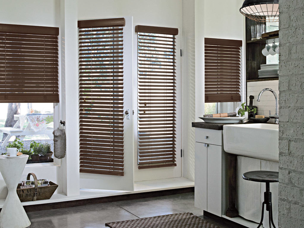 2 inch stained wood blinds 1 jacksonville blinds for Window treatments with shutters