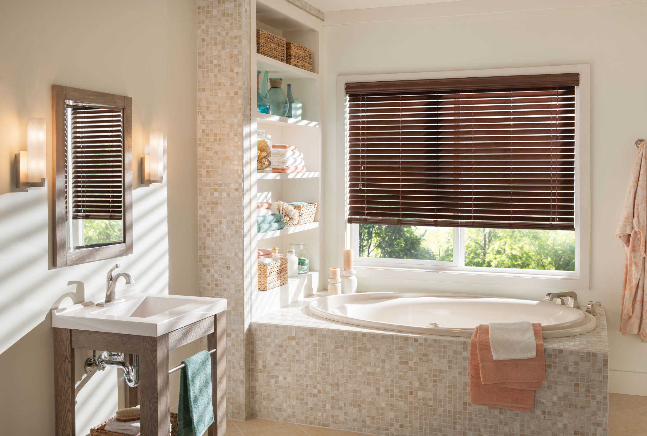 for bathroom cozy decor windows ceramic white and plus your blinds window bathtub candlestick with wood plantation christmas faux design